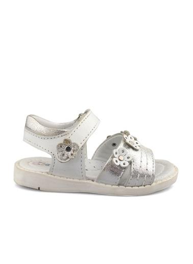 Cici Bebe Ayakkabı Cicibebe Deri Çiçek Tokalı Cırtcırtlı Arkası Kız Çocuk Sandalet Beyaz